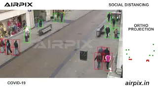 Social distance monitoring algorithm by Airpix demonstrated on the Oxford Town Centre dataset. Source: youtube.com/watch?v=mC4G3t8iPNs