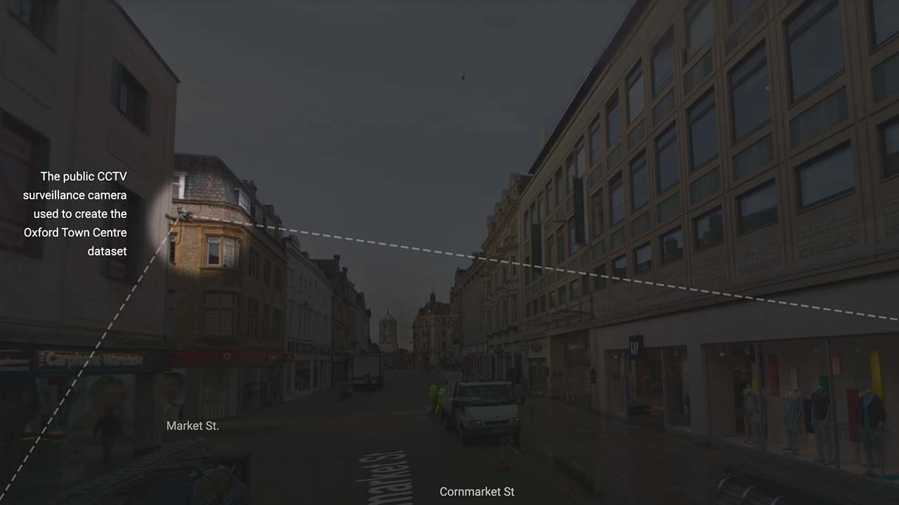 Footage from this public CCTV camera was used to create the Oxford Town Centre dataset. Image sources: Google Street View (map)