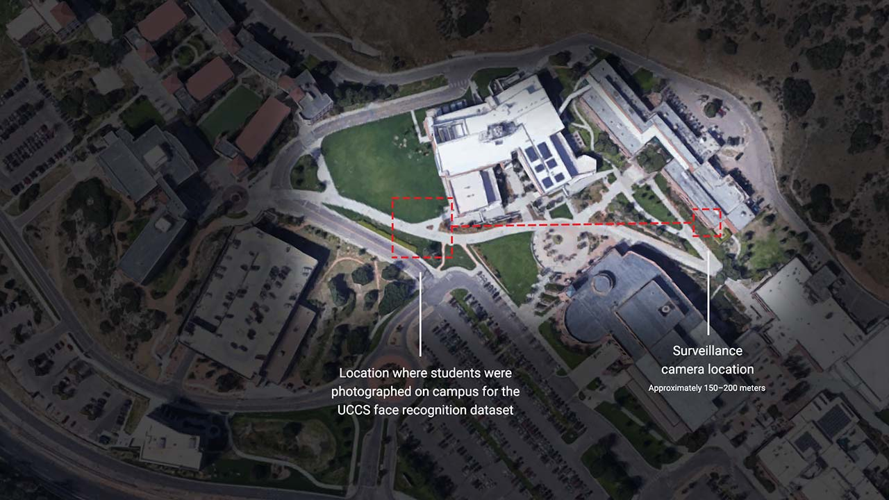 The location at University of Colorado Colorado Springs where students were surreptitiously photographed with a long-range surveillance camera for use in a defense and intelligence agency funded research project on face recognition. Image: Google Maps
