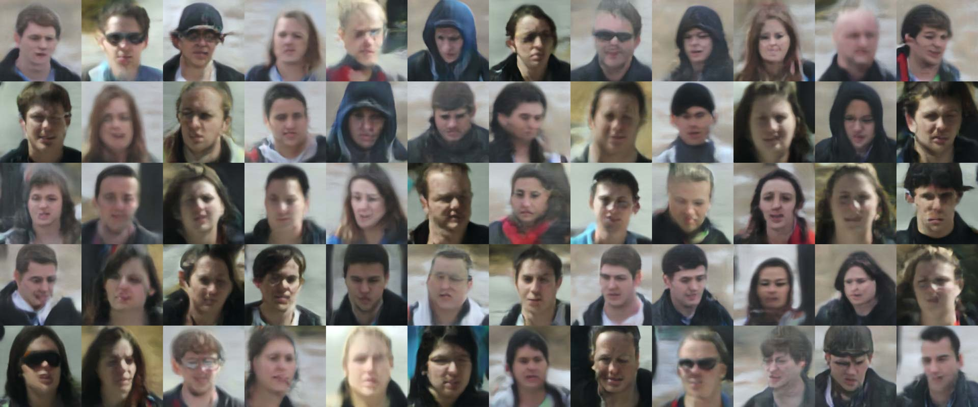 GAN generated approximations of students in the UCCS dataset. © Adam Harvey / MegaPixels.cc 2018. Based on the UnConstrained College Students dataset, made available under a modified ODC Attribution License. Rendered using Progressive Growing of GANs for Improved Quality, Stability, and Variation