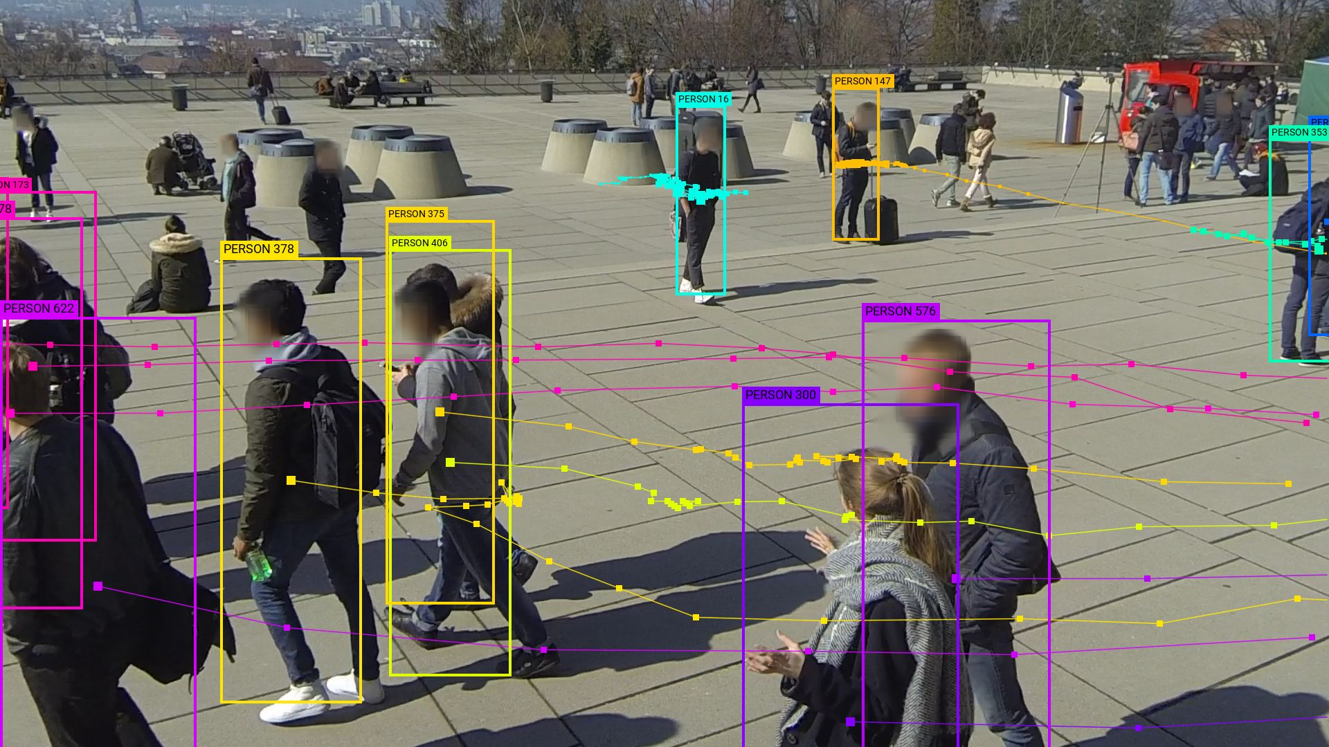 WILDTRACK camera 4. Original image from WILDTRACK dataset by Chavdarova et al. (2017). Data visualization by Adam Harvey / megapixels.cc (2020)