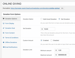Online Giving Form