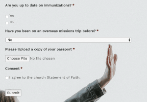 Missions trip signup - Custom Form Builder