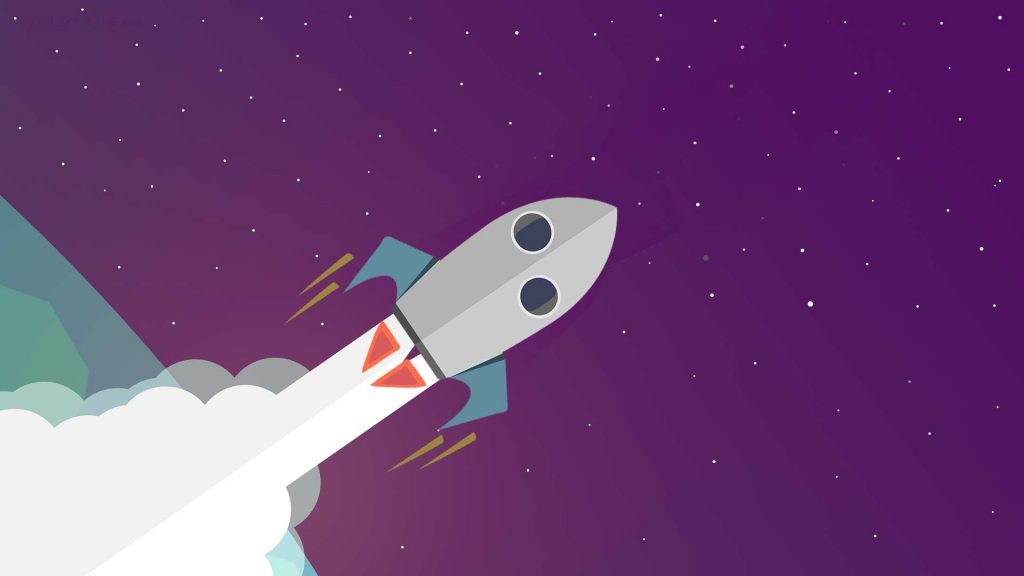 Illustrated rocket shooting through space