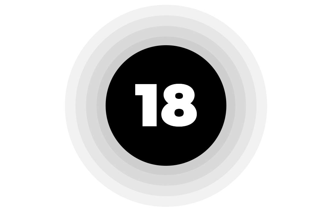 Expanding, fading concentric circles around the number 18
