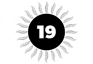The number 19 in a black circle surrounded by rotated feathers