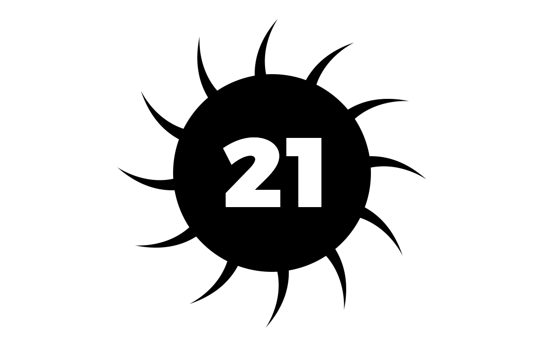 The number 21 with stylised spikes, representing NEM distributed ledger technology