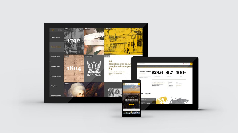 BNY Mellon digital-first brand experience design: website interface