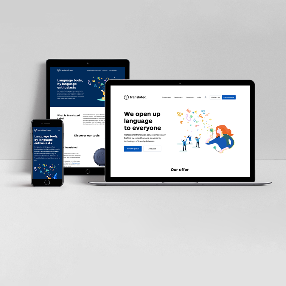 fresh, modern and accessible Translated.com visual identity on mobile, tablet and laptop