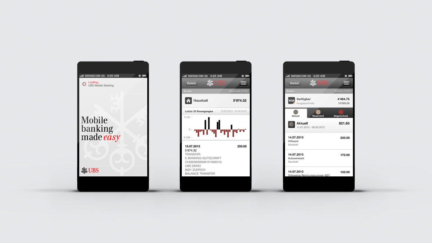 Elegant and intuitive UBS mobile banking iPhone app design