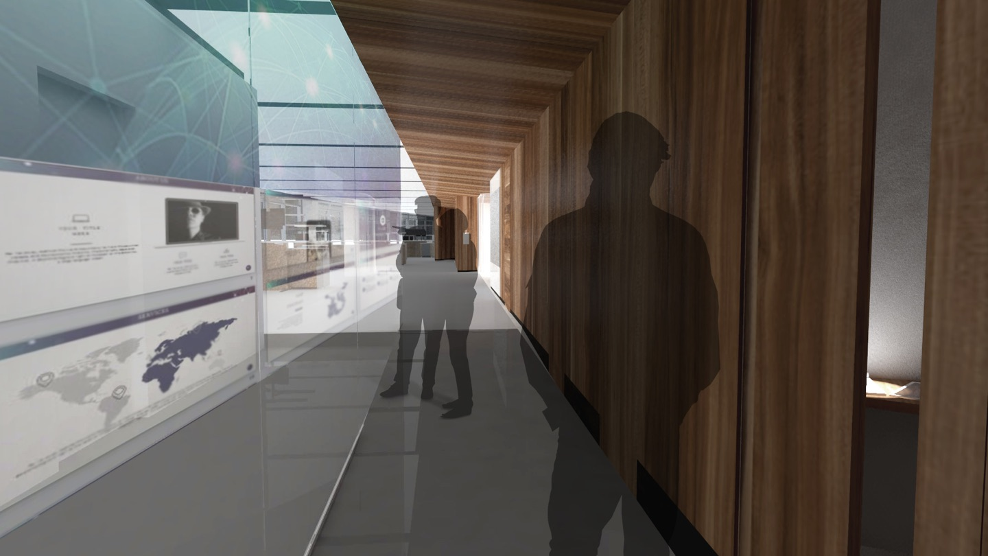architectural rendering of people walking through wood-clad hallway