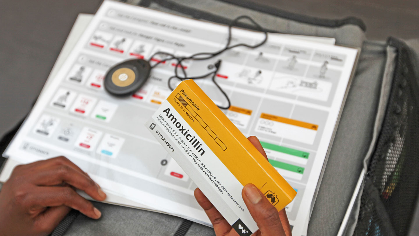 toolkit with diagnostic aids and medical supplies like amoxicillin to help CHWs
