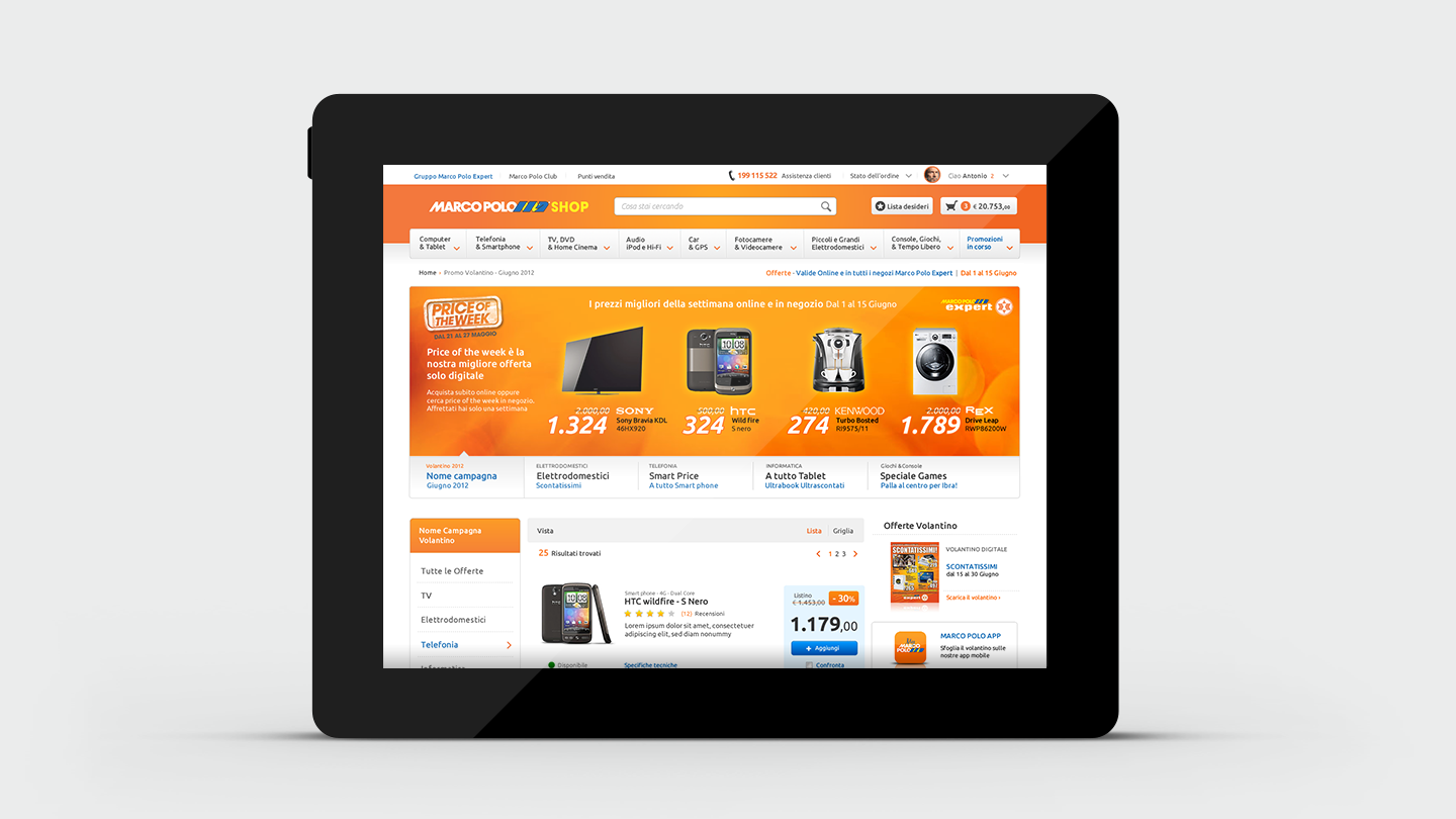 Marco Polo e-commerce website ui and ux on tablet mockup