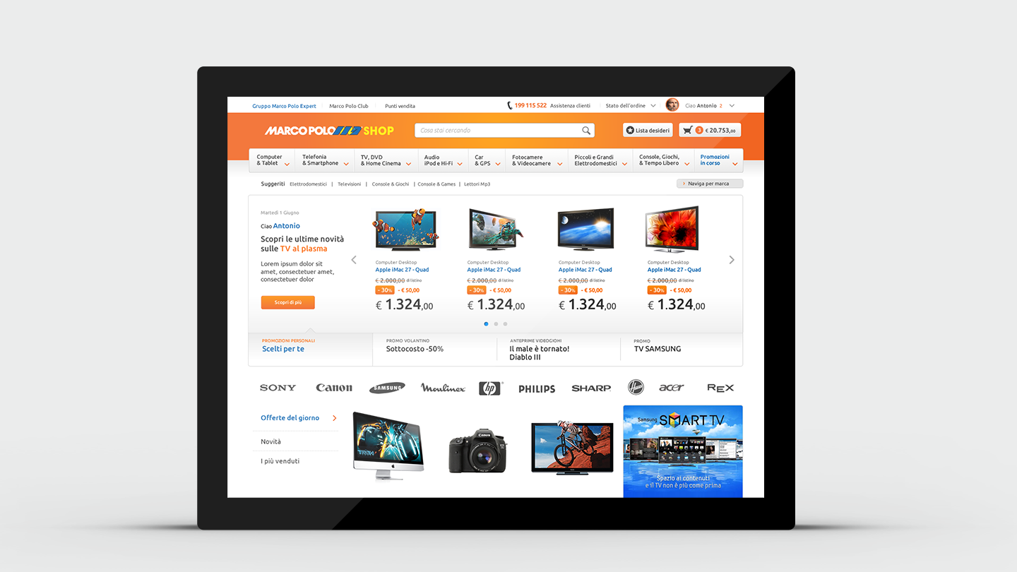 Marco Polo e-commerce website ui and ux design for tablet