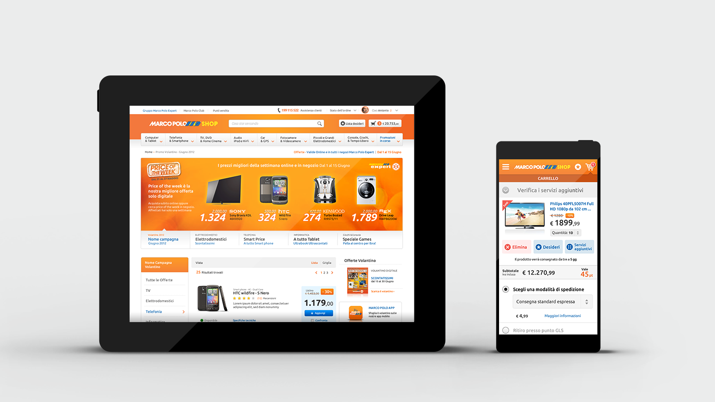 Marco Polo e-commerce website ui and ux design on tablet and mobile