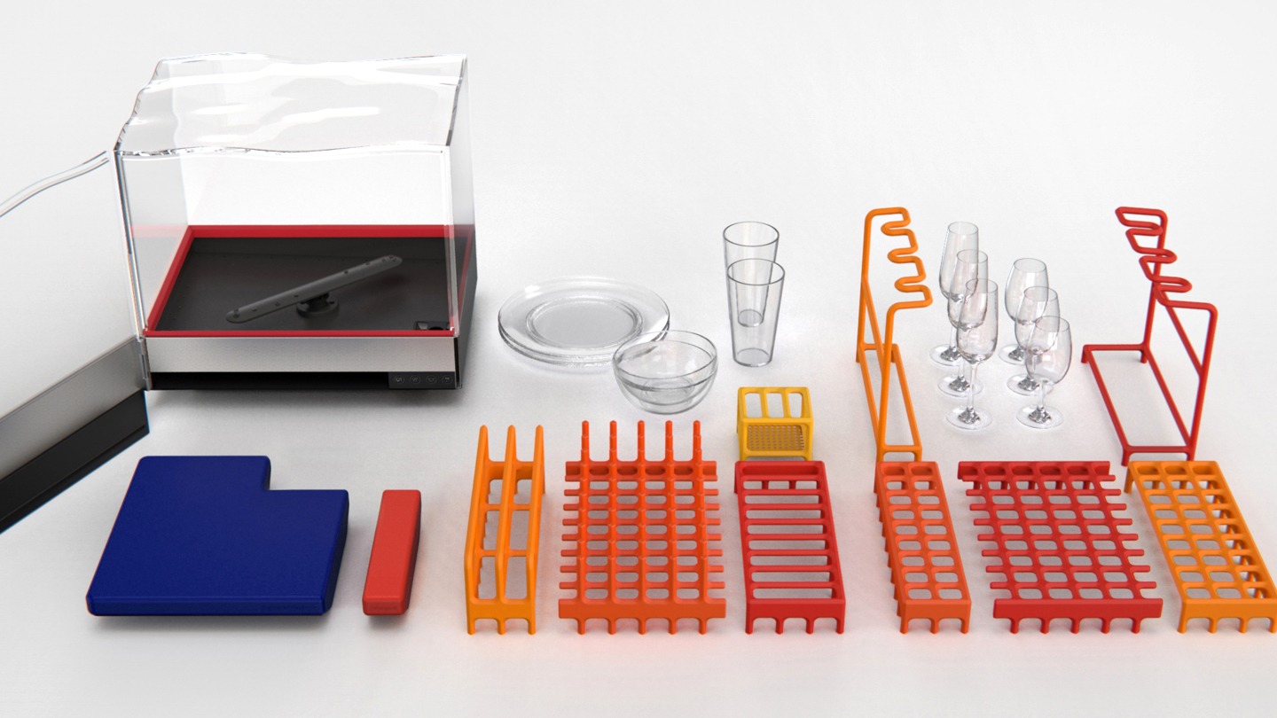 Heatworks countertop Tetra dishwasher and its contents