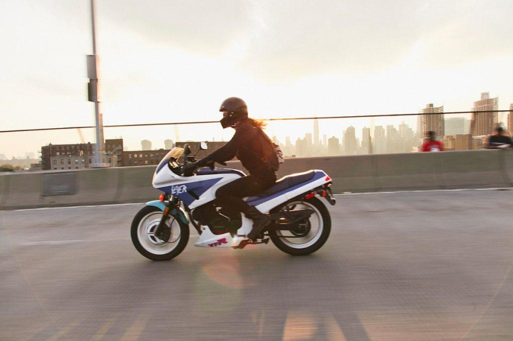 Lynda on Motorcycle