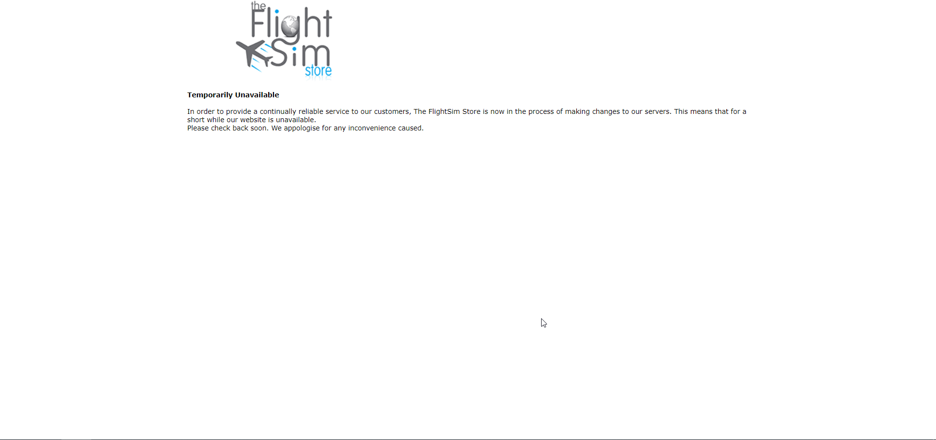"Update: Back Online] The FlightSim Store ""Temporarily Unavailable"