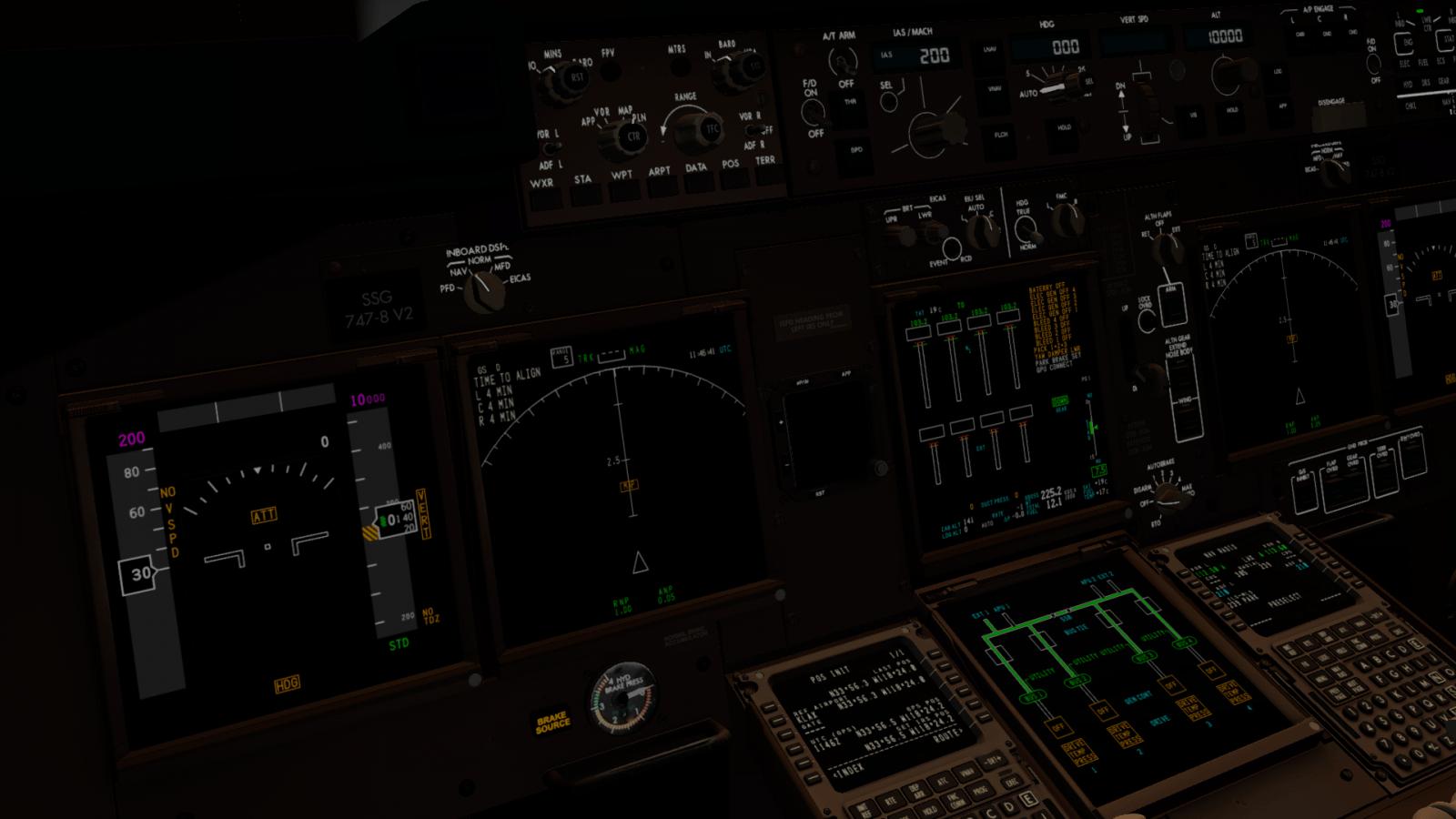New SSG Previews of 747-8 Cockpit Night Lighting – FSElite