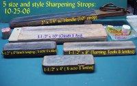 Sharpening Strops-a-sm_5 dif strops & cake rouge_10-26-06.jpg