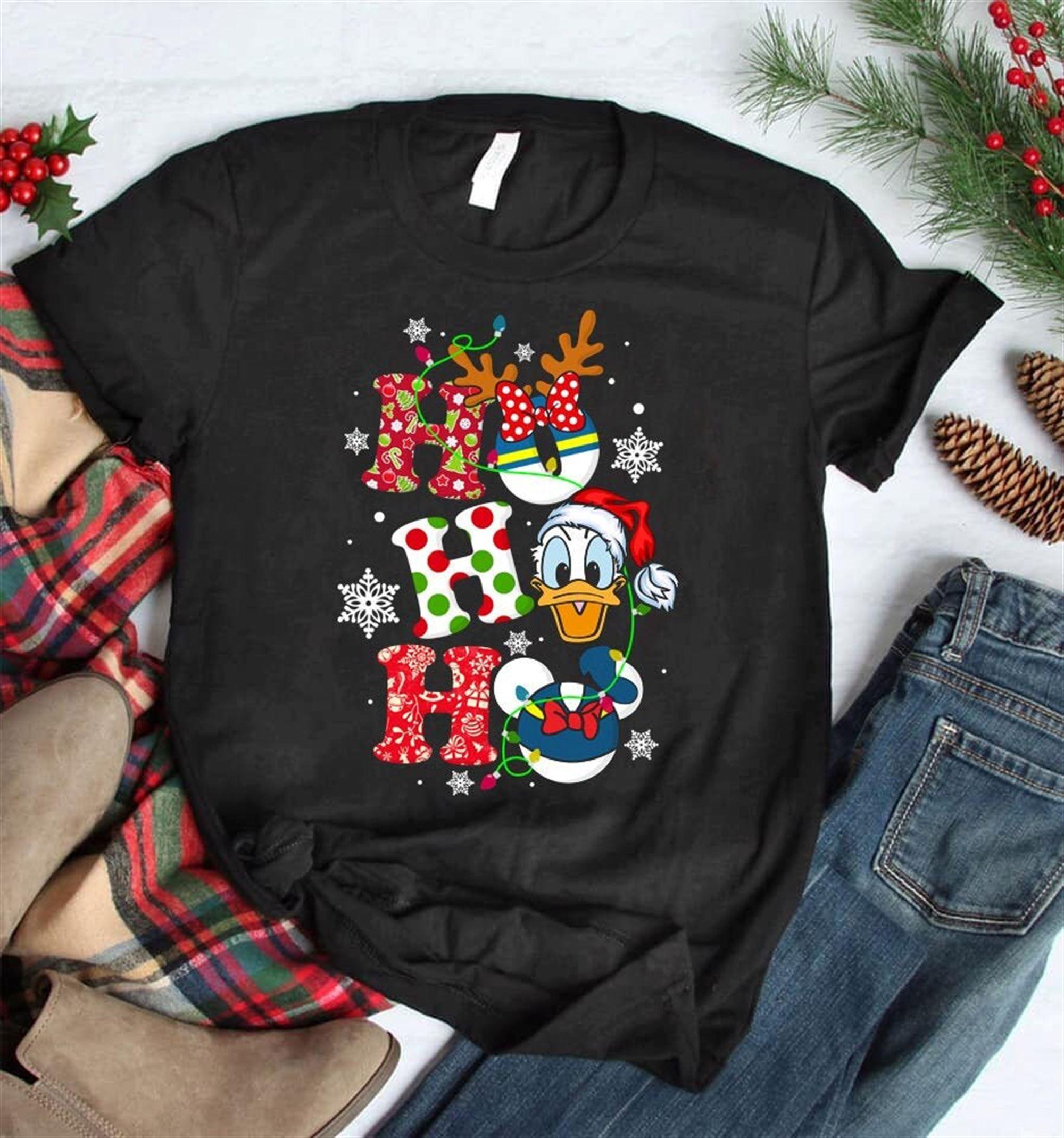 Ho Ho Ho Donald Duck Christmas Shirt Cute Christmas Disney Sweatshirt Hoodie Christmas Gifts Snowmen Snowflake Santa Hat Reindeer