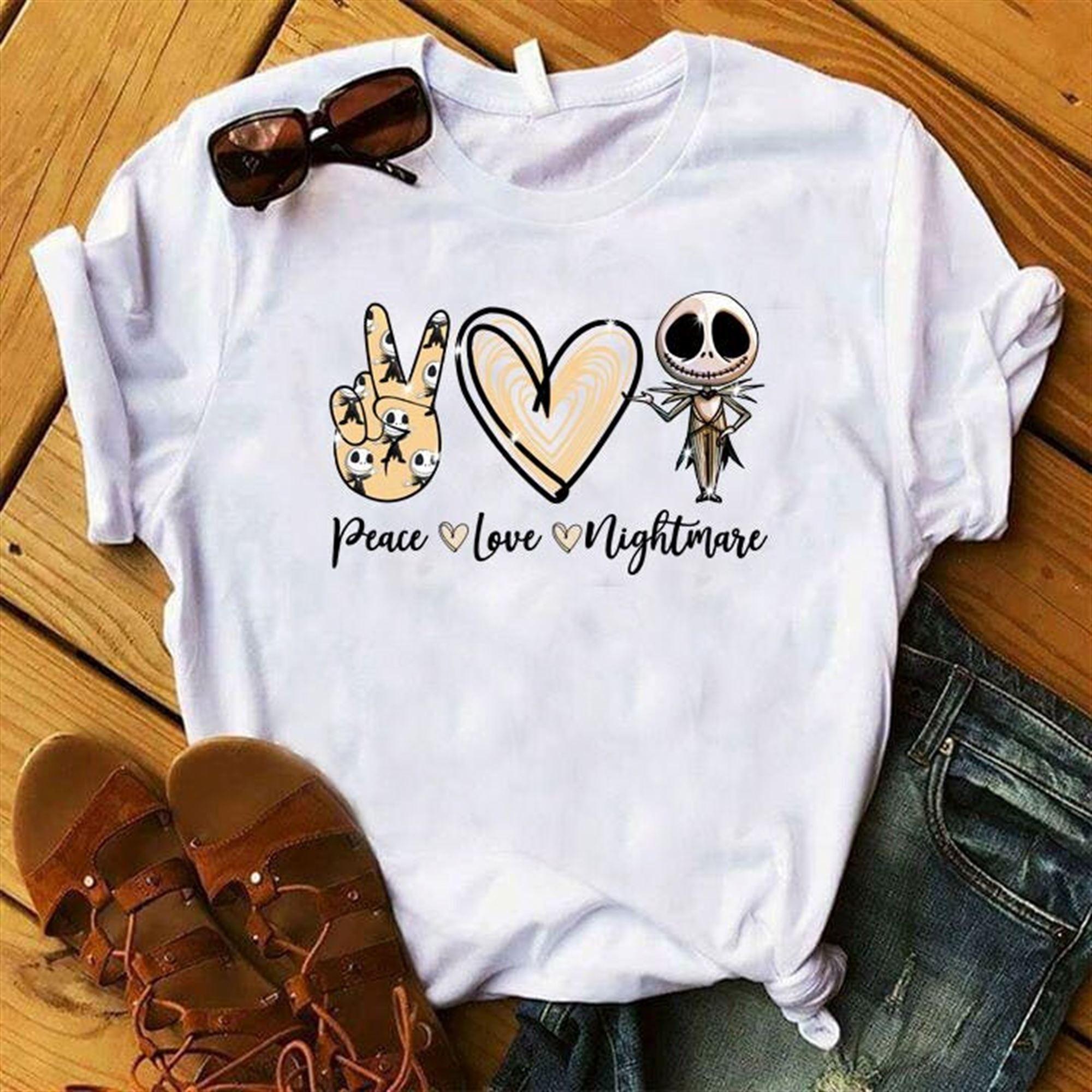 Peace - Love - Nightmare Nightmare Before Christmas Shirt Jack Skellington Disney Fall Shirt Jack Sally Monogram Fall Shirt Fall Tee