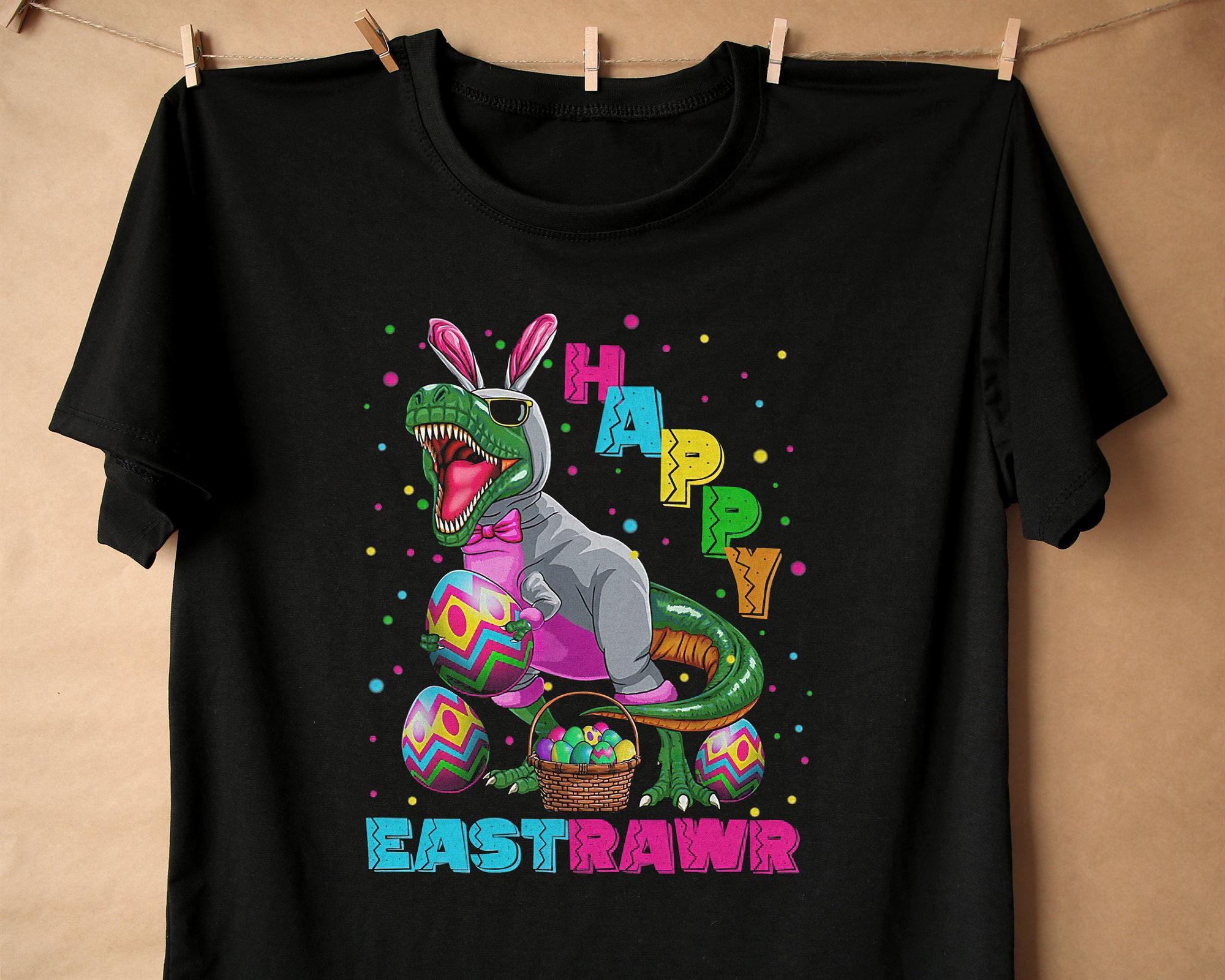 Happy Eastraw T-shirt Easter T-shirt Dinosaur Easter T-shirt H4fos