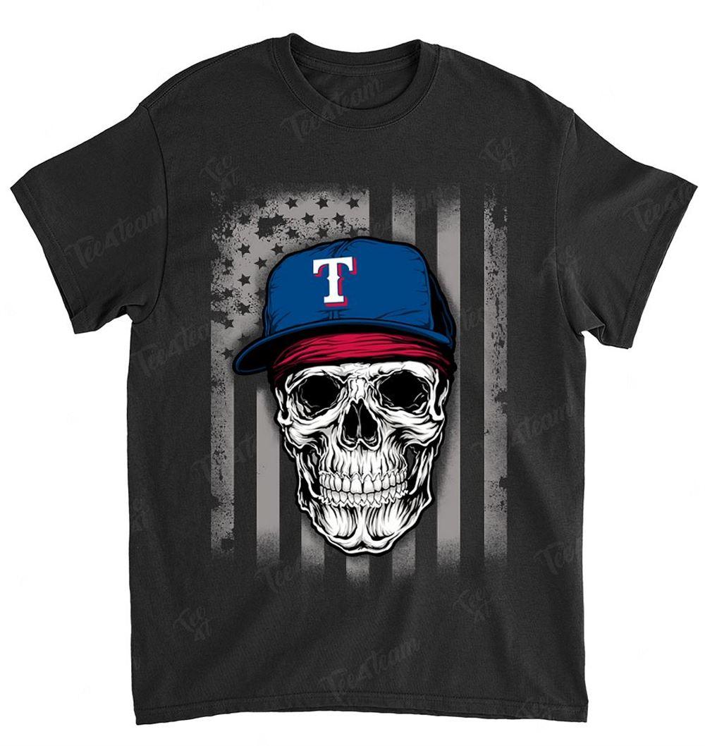Mlb Texas Rangers 078 Skull Rock With Hat Shirt