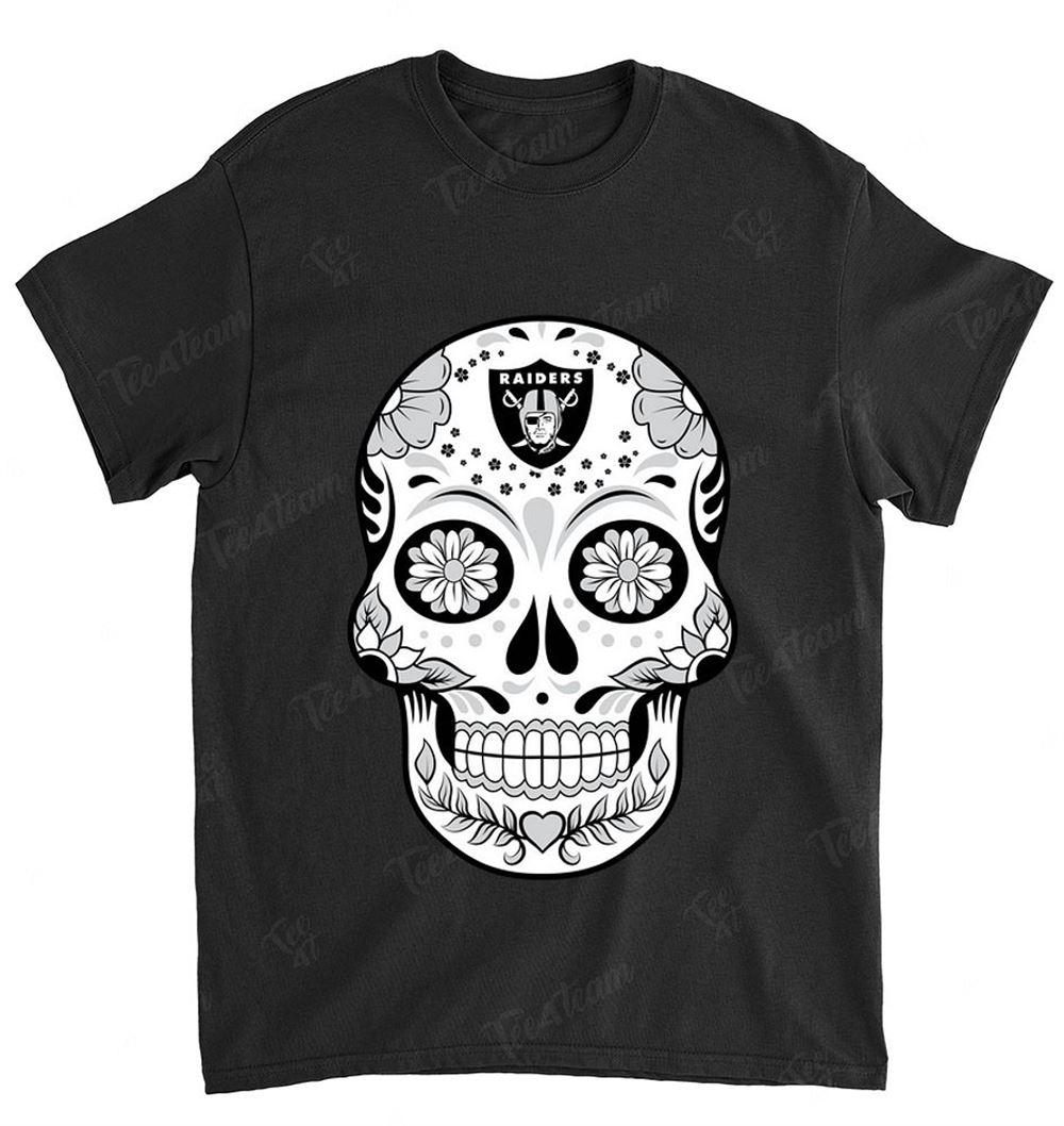 Nfl Oakland Raiders 081 Skull Rock With Flower Shirt
