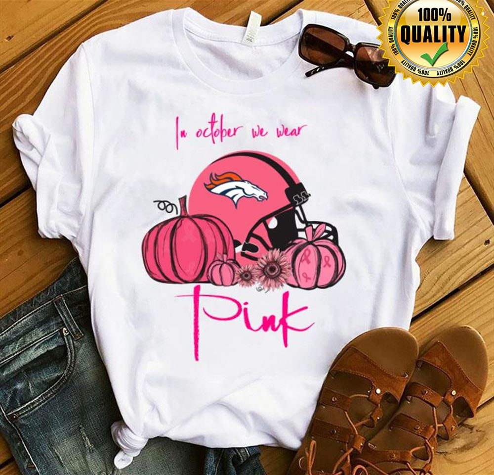 Pumpkin Denver Broncos In October We Wear Pink Breast Cancer Awareness