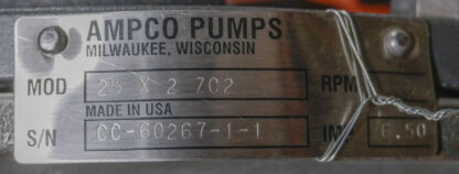 Ampco ZC2 Stainless Pump Wet End ID Tag