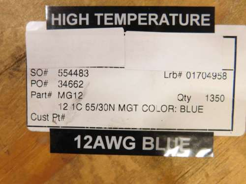Allied Wire and Cable, Inc 214ft Spool of 12AWG High Temperature ...