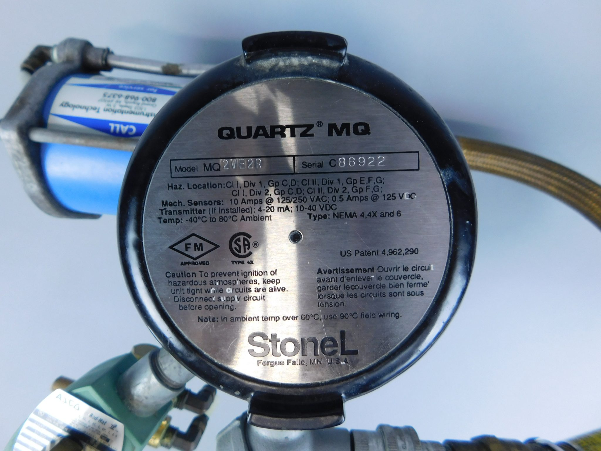 StoneL Quartz MQ 2VE2R Explosionproof Valve Monitoring System with  Jamesbury ST50E Actuator Assembly