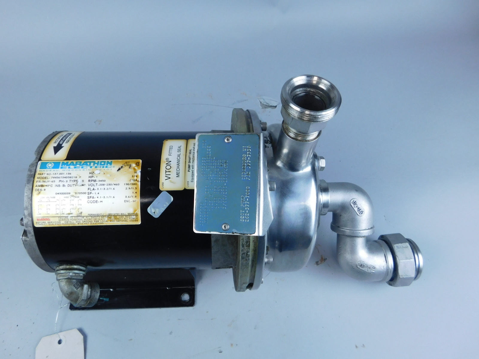 Marathon 1HP 137 001 136 Pump Motor, 3450 RPM, 208-230/460V, 3PH W/ Scot  Pump 231