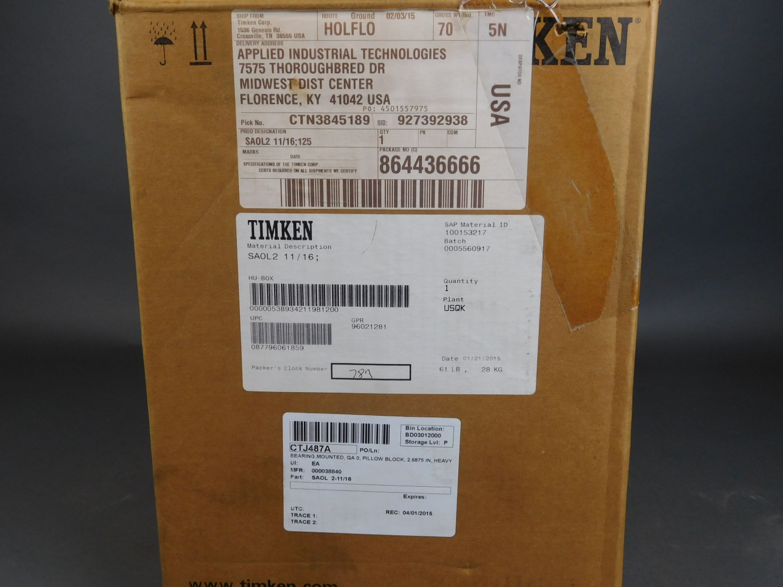 *NIB* Timken SAOL2 11/16 SAOL Series Cast Iron 2-Bolt Ball Bearing Pillow  Block