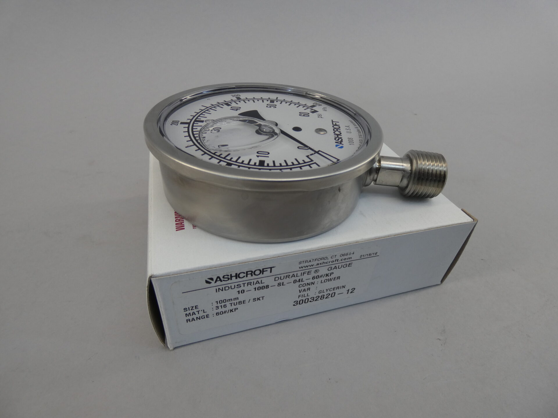 Business & Industrial PRESSURE GAUGE 316 SS TUBE ASHCROFT 0-60 PSI ...