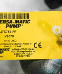 Versa-Matic E1 Stainless AOD Pump ID Tag