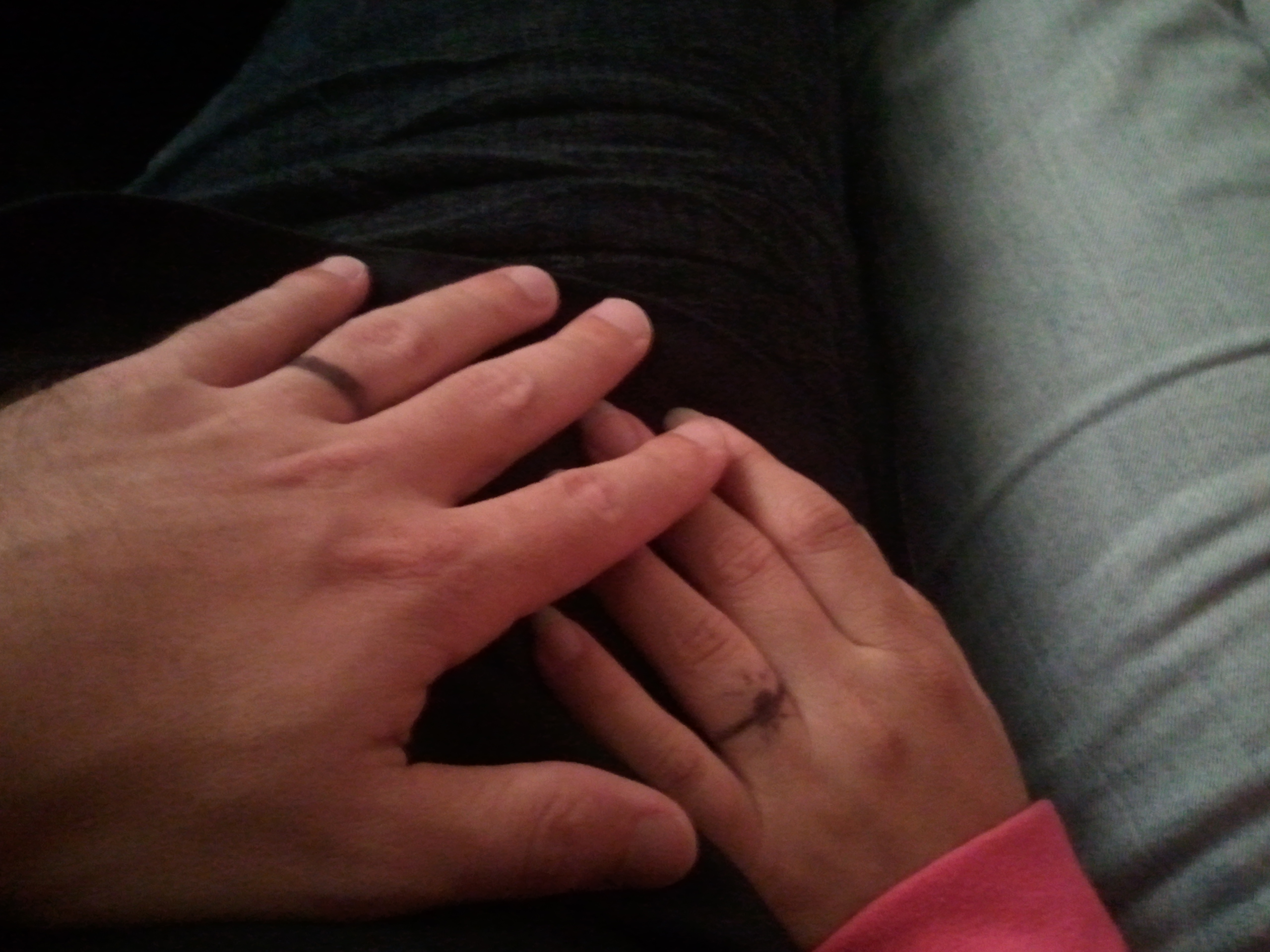 One month together and we drew rings on our wedding fingers.