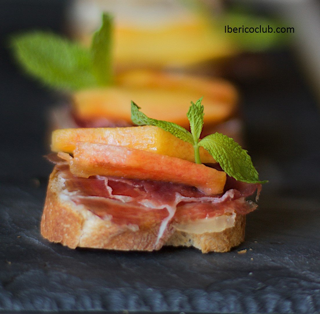Magical Tapa with Jamon Iberico de bellota with peach