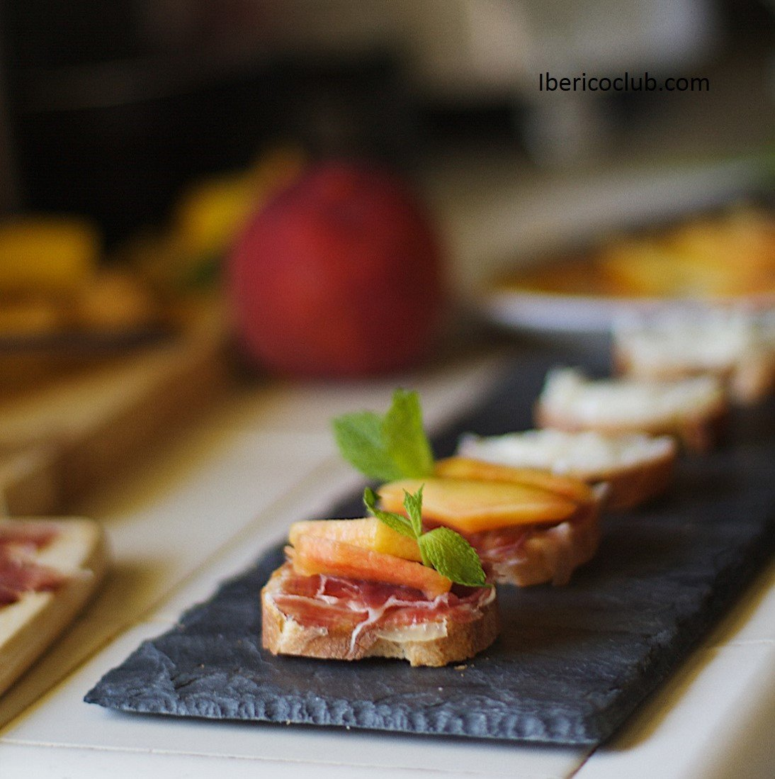 Jamon iberico de bellota with peach