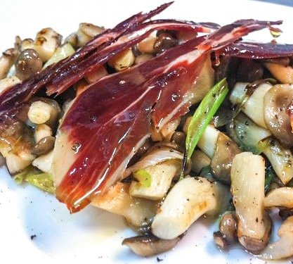 Sautéed Mushrooms with Spring Garlic and Jamón Ibérico de Bellota