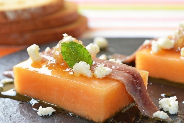 Refreshing Cantaloupe and Anchovies Tapa