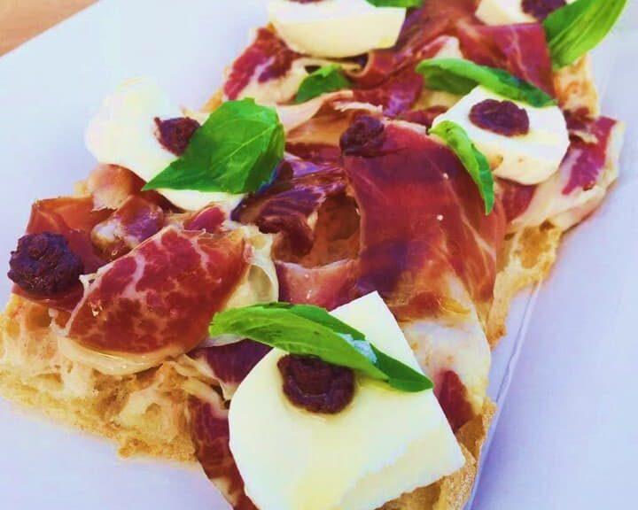 Jamon Mozzarella and Basil Toast | Acorn-fed Ibérico Ham, Mozzarella and Basil Toast