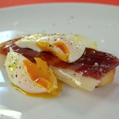 Jamón Ibérico de Bellota with Poached egg Spanish Tapa