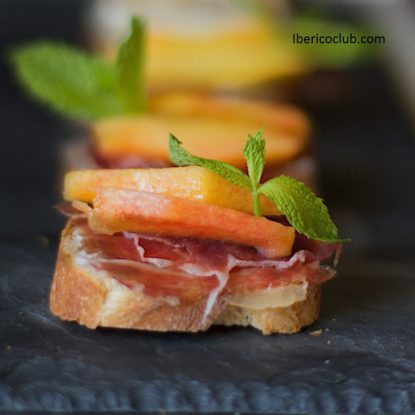 Magical Tapa with Jamon Iberico de bellota with peach