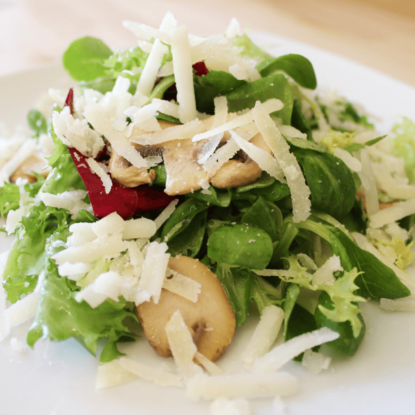Mushrooms and Manchego cheese salad