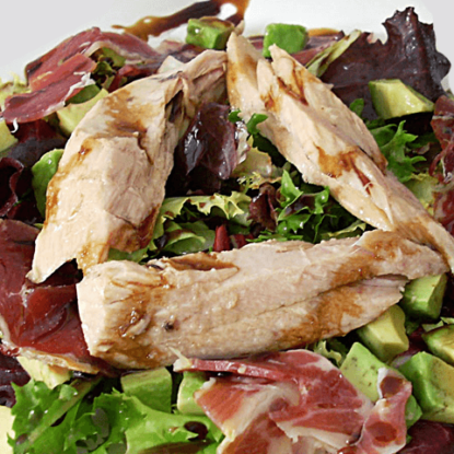 Tuna belly salad, avocado, patanegra and Pedro Ximenez vine reduction