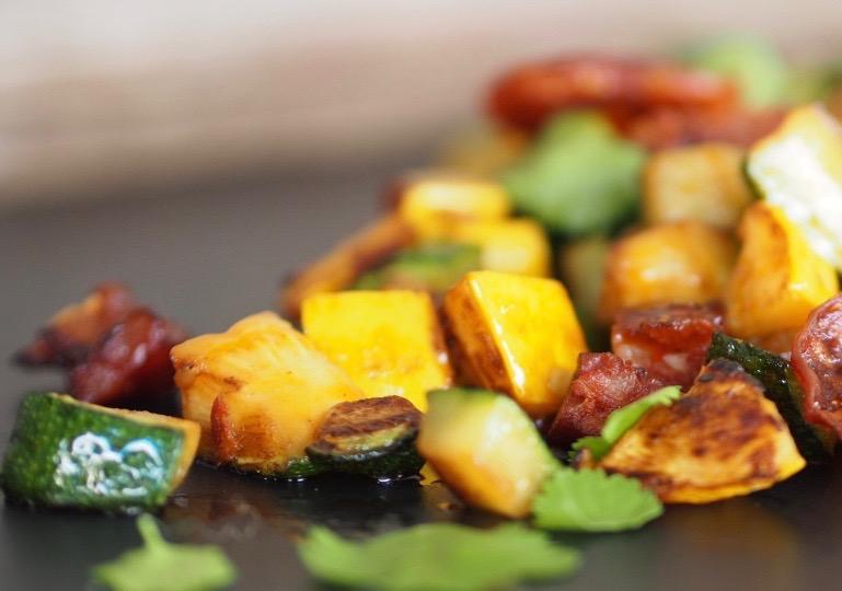 Sauteed vegetables with chorizo ibérico de Bellota