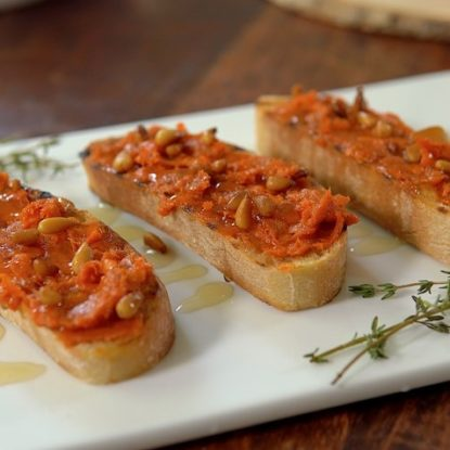 Sobrasada Ib;erica de Bellota, Orange blossom Honey, and pine nuts Spanish Tapa