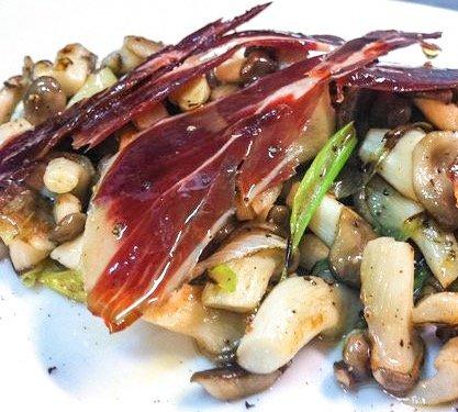 Sautéed Mushrooms with Spring Garlic and Jamón Ibérico de Bellota